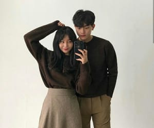 asian boy, asian girl, and beige image
