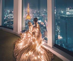 girl, dress, and lights image