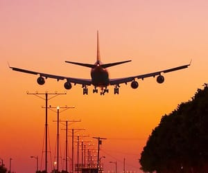 sunset, plane, and sky image