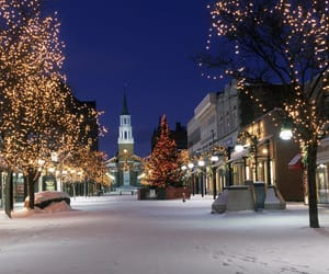 christmas, vermont, and lights image