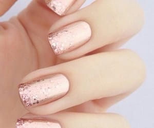 nails, rose gold, and glitter image