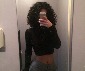 hair, curly hair, and black image