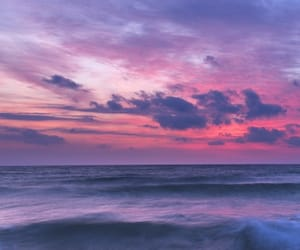 clouds, pink, and sea image