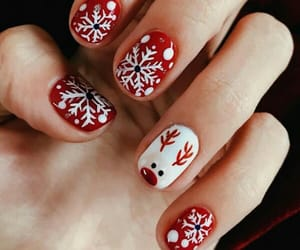 manicure, nails, and snowflakes image