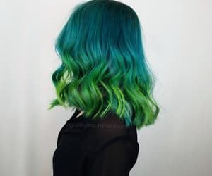 colored hair, green tones, and girls image
