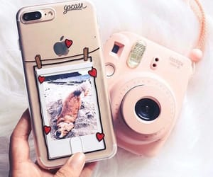 iphone, pink, and polaroid image