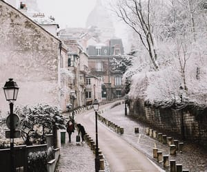 snow, city, and paris image