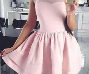 pink prom dress, short prom dress, and prom dress a-line image