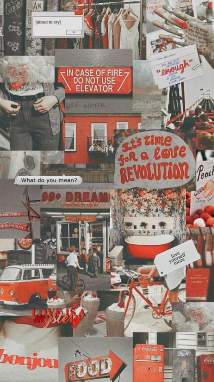 Lockscreen Red N Grey Aesthetic On We Heart It