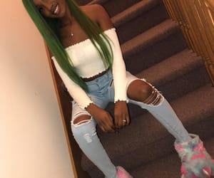 beautiful, black girl, and green hair image