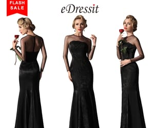 long sleeves, black evening dress, and lace party dress image