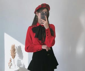 red, black, and girl image