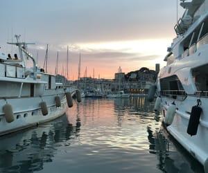 bateau, cannes, and sunset image