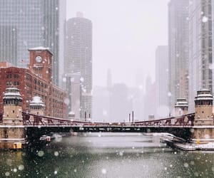 city, chicago, and snow image
