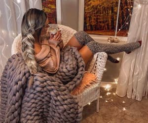 girl, autumn, and blanket image