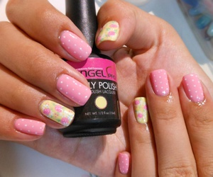 nail art, polish, and polkadots image