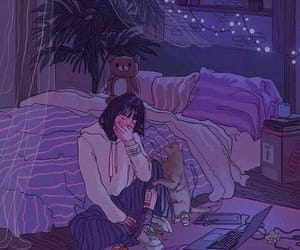 girl, sad, and purple image