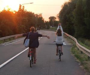 girl, tumblr, and bike image