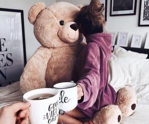 girl, coffee, and teddy image