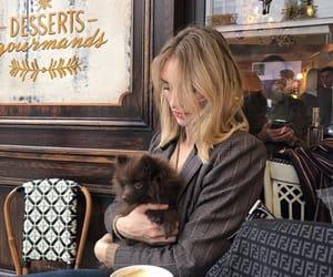 dog, cafe, and coffee image