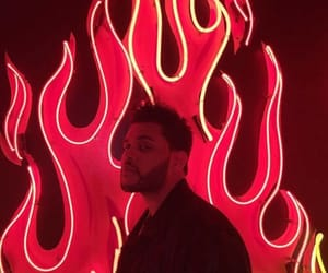 the weeknd, red, and fire image