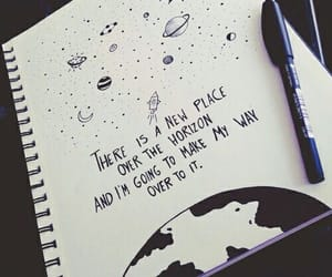planet, quote, and rocket ship image
