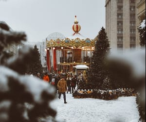christmas, market, and snow image