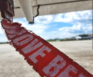 airplane, aviation, and red image