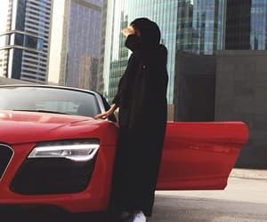 abaya, car, and red image