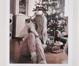 cat, christmas, and girl image