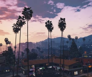 city, palms, and sunset image