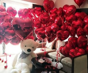 balloon, red balloons, and teddy bear image
