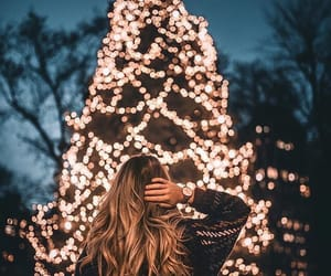 christmas, light, and girl image