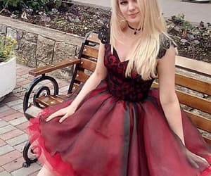 red prom dress, short prom dress, and lace black prom dress image