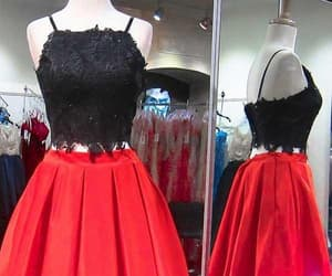 short homecoming dress, two pieces prom dresses, and black homecoming dress image