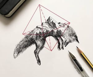 black, fox, and tattoo image