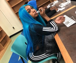 adidas, blue hair, and frontal image