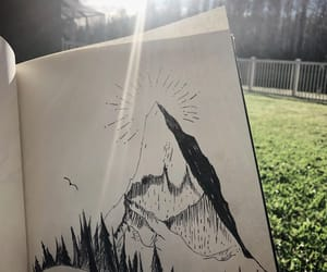 art, forest, and mountain image