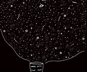 black, stars, and mind image