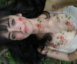girl, body, and flowers image