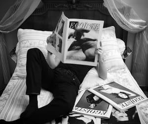 black and white, fashion, and magazine image