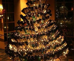 christmas, tree, and bottle image