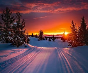snow, sunset, and nature image