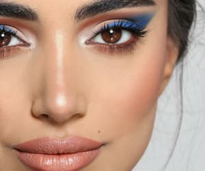 blue eyeshadow, nude lips, and loveit image