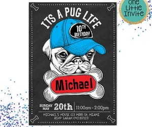 etsy, invitations, and pug party image