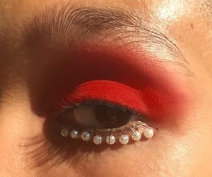 eyes, makeup, and red image