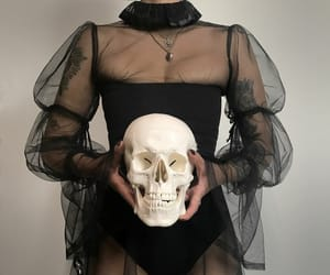 black, skull, and goth image
