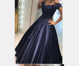 blue evening dress, ball gown evening dress, and modest evening dress image