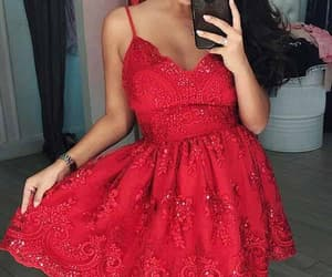 prom dress, homecoming dress red, and v-neck homecoming dress image