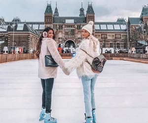 girl, winter, and friends image